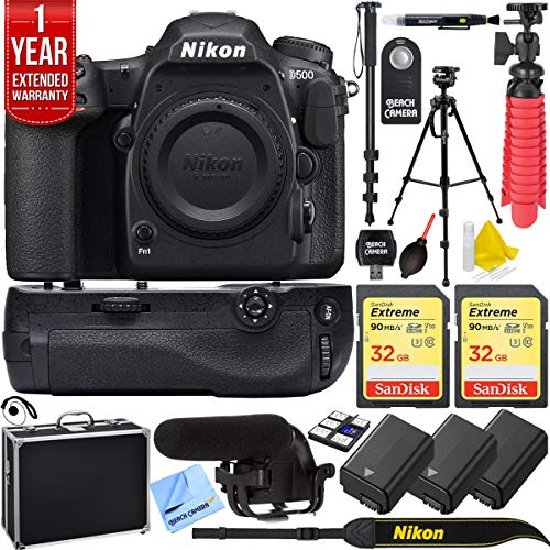 Nikon D500 DX Format 4K Video DSLR Camera Triple Battery & Battery Grip Complete Video Recording Bundle