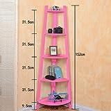 Solid Wood Shelves Multi - function Bedroom Storage Rack Trapezium Shelf Living Room Corner Flower Stand Floor Bookshelf ( Color : Pink )