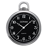 Gotham Men's Silver-Tone Slim Railroad Open Face Quartz Pocket Watch # GWC15028SB