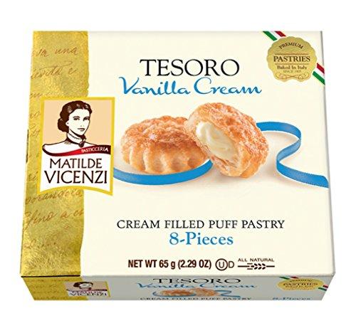 Matilde Vicenzi, Tesoro, Vanilla Cream, Cream Filled Puff Pastry, 2.29 oz, Pack of 6