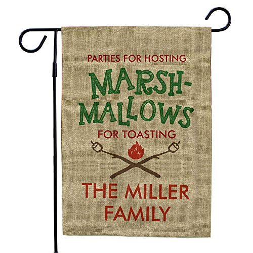 GiftsForYouNow Marsh-Mallows for Toasting Personalized Burlap Garden Flag