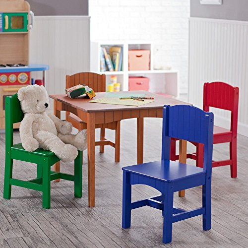 Highest Rated Most Popular Kids Toddler Wooden Table Chairs Fun Work Activity Station- Beautiful Primary Pastel Colors- Perfect For Tea Parties Homework Games Hobbies More- Fun For Boys Girls All Ages