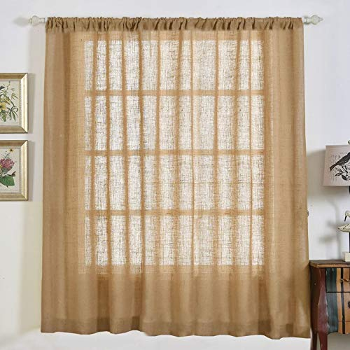 Efavormart 2 Panels 52x84 Eco Friendly Burlap Jute Rustic Home Curtain Backdrop Panels with Rod Pocket for Window Wall -