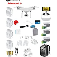 DJI Phantom 4 ADVANCED Plus Quadcopter Drone with 1-inch 20MP 4K Camera KIT + 4 Total DJI Batteries + 3 64GB Micro SD Cards + Reader + Guards + Range Extender + Charging Hub + Harness + Backpack