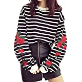 Focal20 Women Sleeve Rose Embroidered Striped Blouse Long Latern Sleeve Shirt Casual Loose Tops Long Sleeve T-shirt