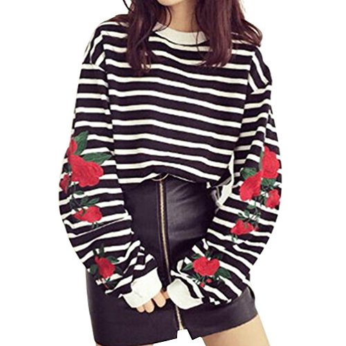 Price comparison product image Focal20 Women Sleeve Rose Embroidered Striped Blouse Long Latern Sleeve Shirt Casual Loose Tops Long Sleeve T-Shirt