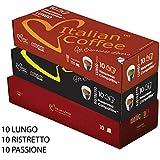 Nespresso compatible Delicitaly Italian Expresso capsules (Passione, Ristretto, Lungo, 30 pods)
