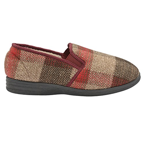 Dunlop Herren Amauri oder Amadour Kariert Gemustert Pantoffeln Burgund - rot