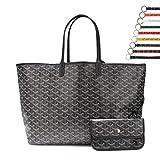 Stylesty Fashion Shopping PU Tote Bag, Designer Shoulder Handbags with Key Ring (Large, New Black)