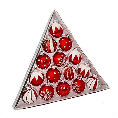 """Kurt Adler 1.5"""" Red/White Deco Glass Ball Ornaments 15pc Set"""