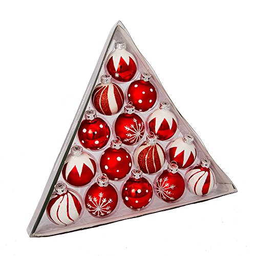 Kurt Adler 157Inch Red/White Decorated Glass Ball Ornament Set of 15