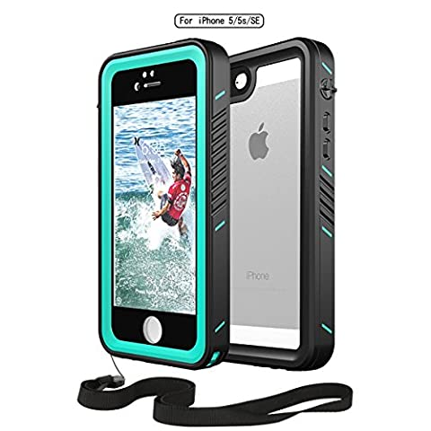 Waterproof Phone Case iphone 5S 5 SE,Moskee High Precision Full Body Underwater Protective Case with Sensitive (Blue Waterproof Iphone Case)