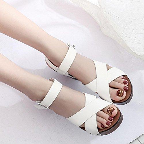 Winwintom mujer moda sandalias bombas Zapatos de tacones altos zapatos femeninos Blanco
