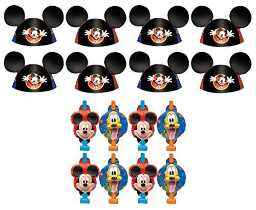 Mickey Mouse Hats (Disney Mickey Mouse and Friends Birthday Party Favors Pack Including Blowouts, and Party Ear Cone Hats - 8 Guests)
