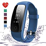 Fitness Tracker HR, 007plus D107Plus Heart Rate Monitor Fitness Smart Watch Activity Tracker with Sleep Monitor IP67 Waterproof Pedometer Smart Wristband (Blue)