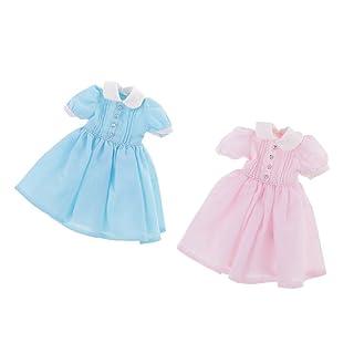 Homyl 2 Pezzi Toga Tonaca Abbigliamenti Clothing Outfit Dress Casuale Vestiti per Doll - Blu e Rosa