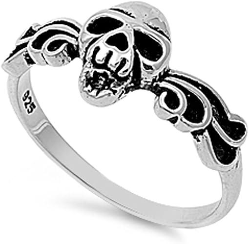 Vintage 925 Silver Skeleton Skulls Band Women Men Wedding Jewelry Ring Size 5-10