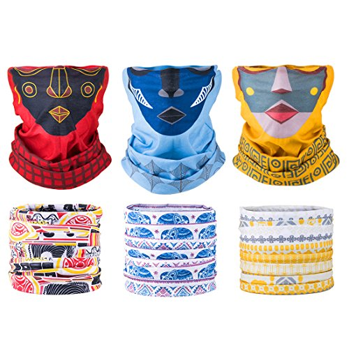 Sixteen18 6 Pack, Women's Multifunctional Seamless Face Tube Mask Headband Bandana Scarf for Outdoors, Yoga, Cycling, Skiing, Paintball | Protect Skin, Face, and Neck from Sun, Wind, Dirt, Snow by Sixteen18