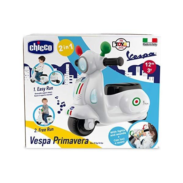 Chicco Vespa per Bambini Primavera Bianca, Moto Giocattolo Cavalcabile con Pannello Elettronico, Luci e Suoni, Ruote di… 4