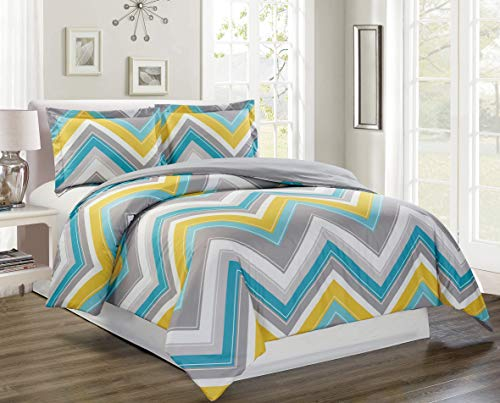 3-Piece Fine printed CHEVRON ZIGZAG Duvet Cover Set QUEEN SIZE - 1500 series high thread count Brushed Microfiber - Luxury Soft, Durable (Turquoise, Blue, White, Grey, Yellow) (Duvet Chevron Queen)