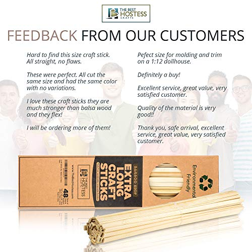 Bamboo Shop 2400 Extra Long Wooden Craft Sticks 15.5 Inches x 3/8 Inch. Food Grade. Natural Unfinished Popsicle Like Wood Strips for Crafts, Treats, Table Centerpieces, Coffee Stirrers by Bamboo Shop (Image #1)