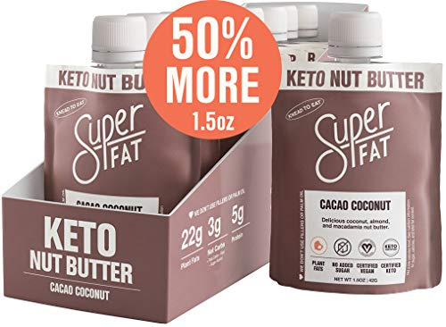 SuperFat Nut Butter Keto Snacks - Macadamia & Almond Nut Butter Fat Bomb Paleo Snack For Energy, Metabolism & Brain Function, Vegan, Gluten Free, Low Net Carb Box of 10 x 1.5 oz (Cacao Coconut)