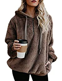 Women's Oversized Sherpa Pullover Hoodie with Pockets 1/4 Zip Sweatshirt