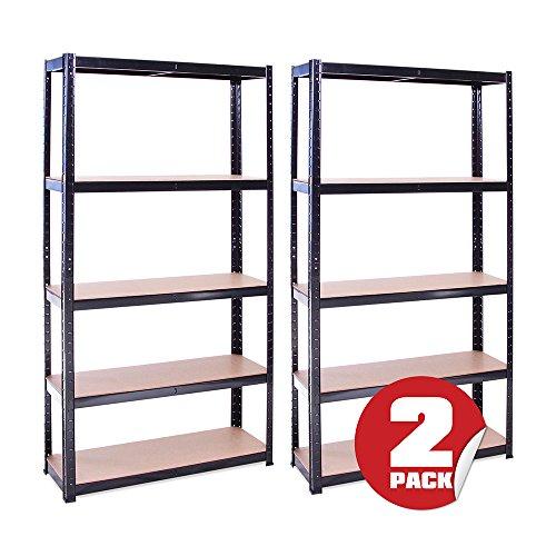 2 Bay 180cm x 90cm x 30cm, Black 5 Tier (175KG Per Shelf), 875KG Capacity Garage...