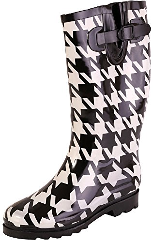 AimTrend Womens Waterproof Welly Rain Boots - Black White Houndstooth