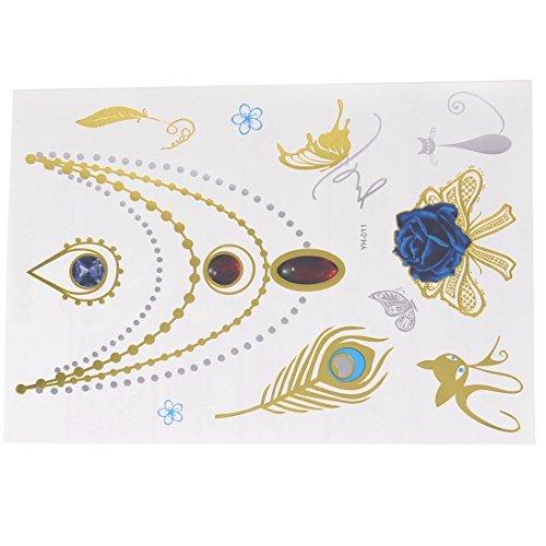 eDealMax Rose Collier Motif Rsistant  l'eau amovible Body Art peau tatouage temporaire autocollant color
