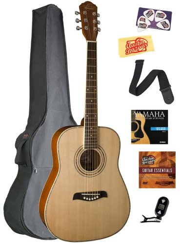 Oscar Schmidt OG1 3/4-Size Left-Handed Dreadnought Acoustic Guitar Bundle with Gig Bag, Austin Bazaar Instructional DVD, Clip-On Tuner, Strap, Strings, Picks, and Polishing Cloth - Natural by Oscar Schmidt