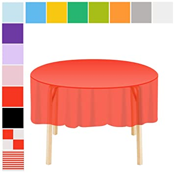 Awe Inspiring Etmury Plastic Tablecloth 6 Pack Disposable Round Table Covers 83 In X 83 In Indoor Or Outdoor Parties Birthdays Weddings Christmas Red Download Free Architecture Designs Grimeyleaguecom
