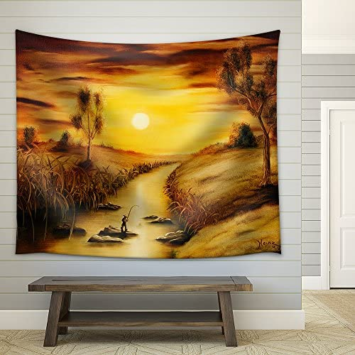 Oil Painting of a Small Fisherman Fabric Wall