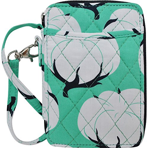 Cotton Field Print Quilted Wristlet Wallet