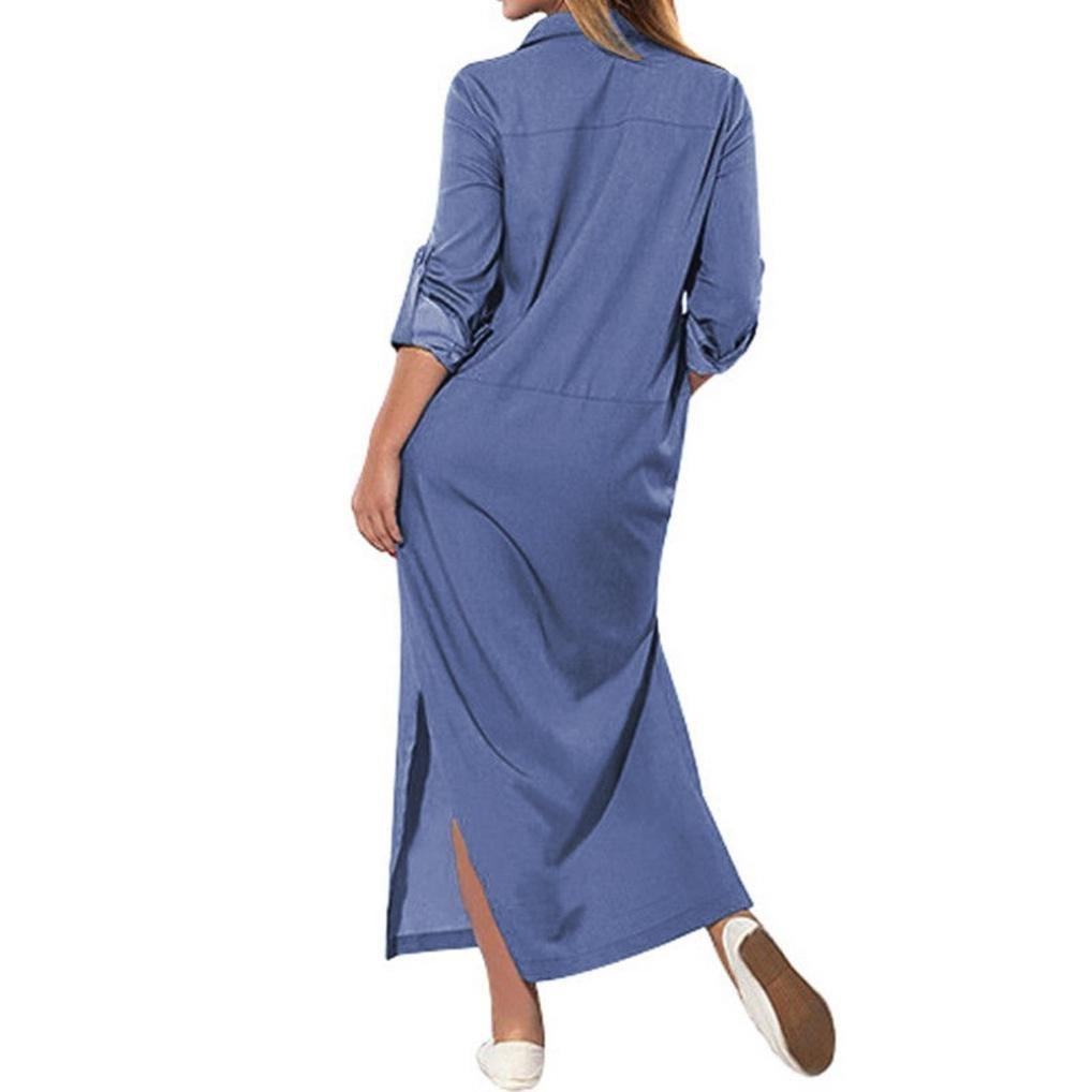 176bfcf910eea Women Long Sleeve Pockets Loose Swing T-Shirt Solid Dresses LEE9471 Leewos  2018 New Denim Maxi Dress