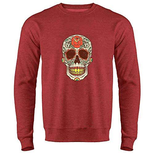 (Rose Sugar Skull Halloween Costume Vintage Horror Heather Red L Mens Fleece Crew)