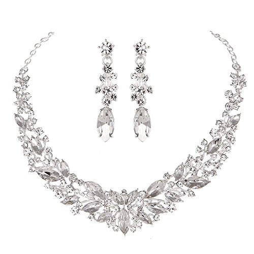 (Youfir Austrian Crystal Rhinestone Bridal Wedding Necklace and Earrings Jewelry Sets for Women (Silver-Clear))