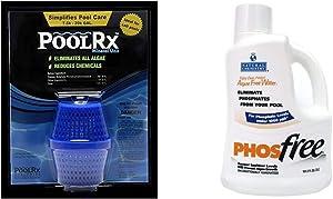 Pool RX 101001 6 Month Algaecide Blue Treats 7.5k-20k gallons, Single, Unit & Natural Chemistry 05121 Phos Free Pool Cleaner, 3-Liter