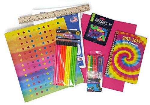 Back to School Supplies for Teen Girls Includes Binder, Notebook Paper, Student Planner, Portfolios, Pencils, Gel Pens, Ruler and Pencil Erasers, Bundle of 8