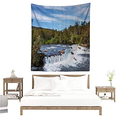 alisoso Wall Tapestries Hippie,Wildlife Decor,Alaskan Bears Eat Fish in The Small Cascade Surrounded by Foliage Camp Place,Blue Green W57 x L74 inch Tapestry Wallpaper Home Decor (Cascade Small Planter)