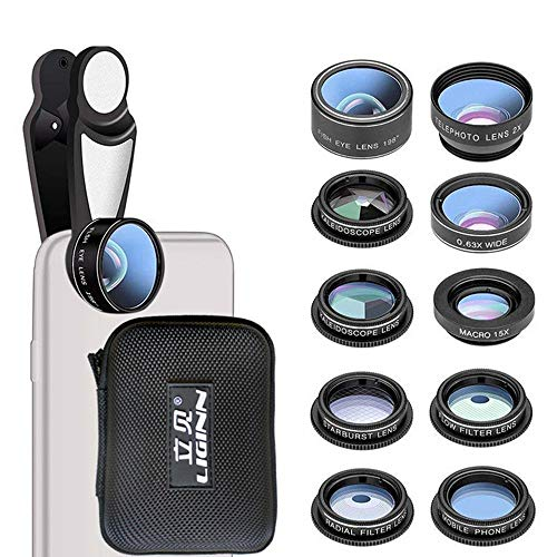 Leegoal Universal Phone Camera Lens 10 in 1 Kit 8X Cell Phone Camera Lens Upgraded Zoom Telephoto HD Lens 198°Fisheye 0.63x Wide Angle Lens Kit for iPhone, Ipad, Samsung Galaxy