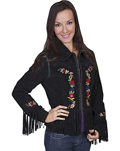 (Scully Women's Embroidered Zip-Up Suede Jacket Black Large)
