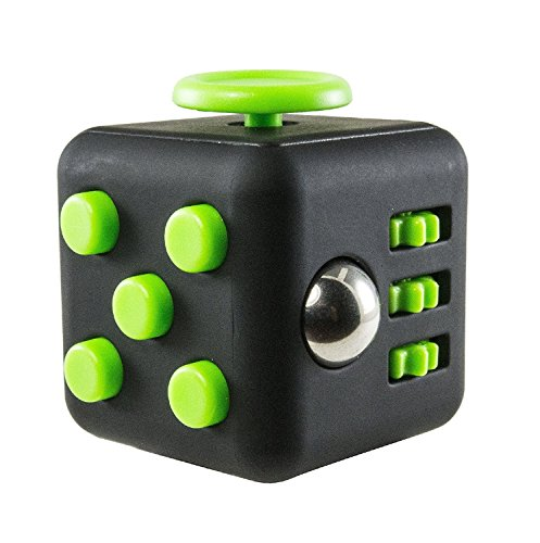 Price comparison product image Fidget Cube Dice Toy With PU Case,  Anti-anxiety Relieves Stress and Depression,  Calming Focus Toy for Children and Adults - Perfect Gift for Autism Anger ADD ADHD & PTSD (Black-Green)