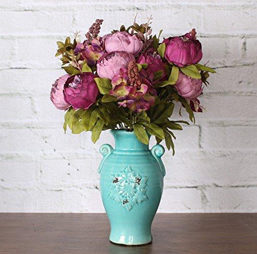 Houda Fake Blumen Vintage Pfingstrosen, künstlich, Seide, Blumen Bouquet Home Hochzeit Dekoration, violett