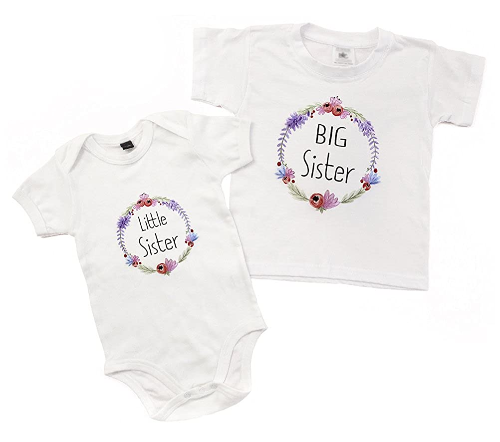 WithCongratulations Big Sister Little Sister Matching Outfits With Floral Wreath