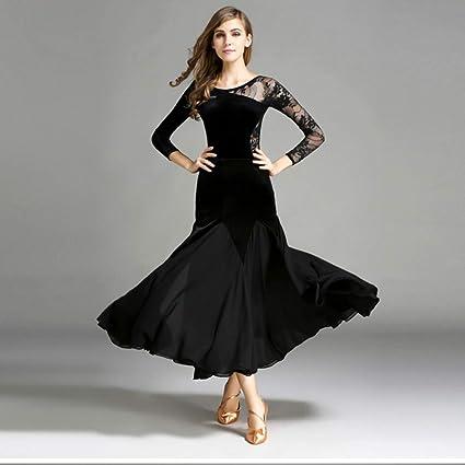 13f7a387c Xueyanwei Modern Lady Big Pendulum Velvet Ballroom Dance Dress Modern Dance  Dress Tango and Waltz Dancing Dress Dance Competition Skirt Long Sleeve  Lace ...