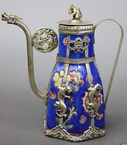 BeesClover Blue Porcelain Dragon Leopard Tea Pot Copper Tibetan Silver Statue Tools Wedding Decoration Brass Show