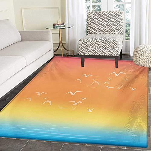 Seagulls Door Mat Outside Tropical Island Sunset Print Setting Sun Sea Palm Trees Birds in Flight Bathroom Mat tub Non Slip 48