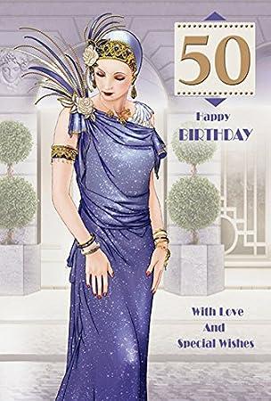 Art Deco Lady 50th Birthday Wishes Card