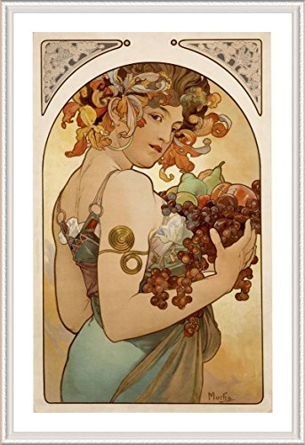 Alonline Art - Fruit Alphonse Mucha White Framed Poster (Print on 100% Cotton Canvas on Foam Board) - Ready to Hang | 24
